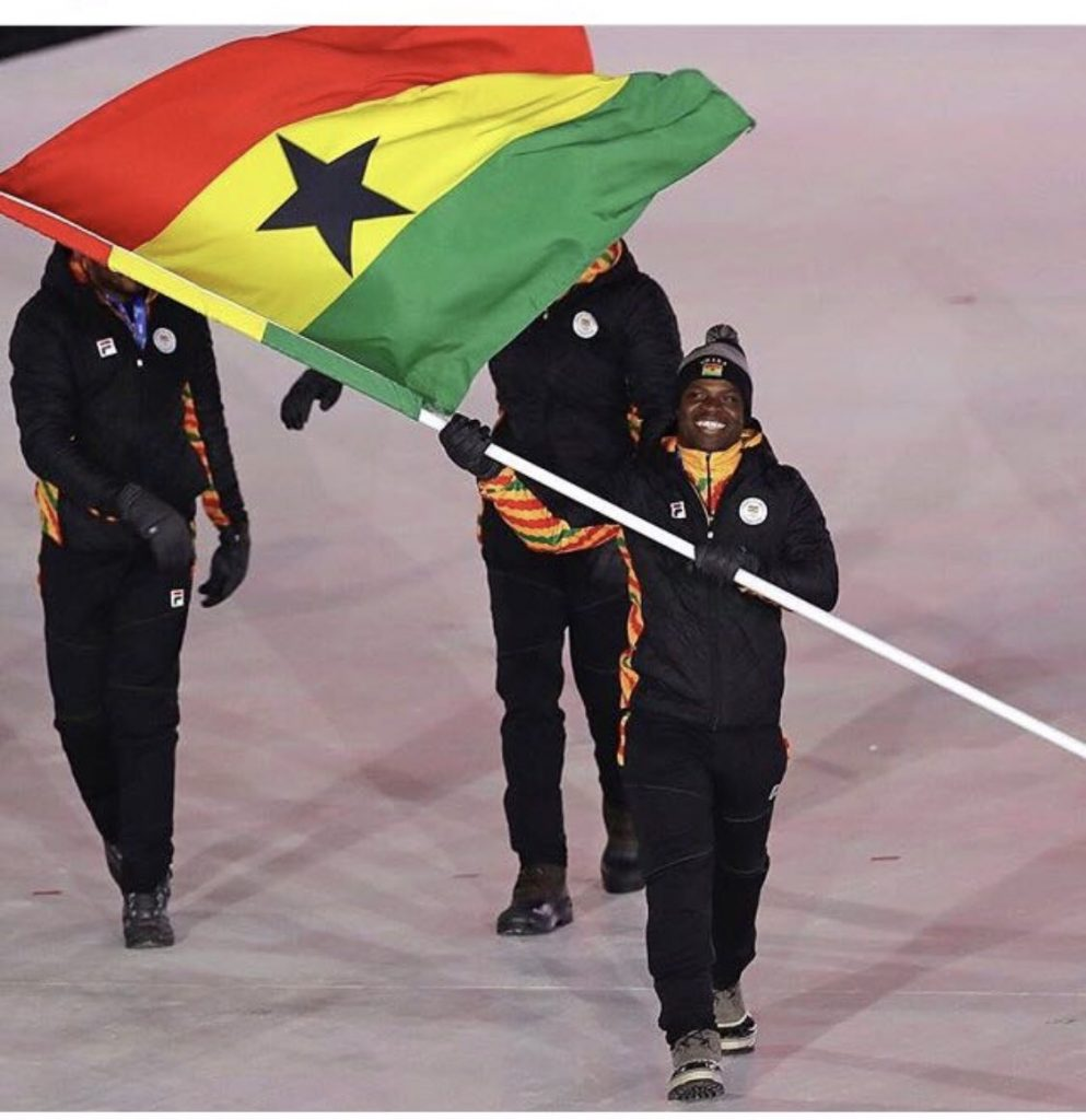 Akwasi Frimpong Lifts The Flag For Ghana At Winter Olympics Opening