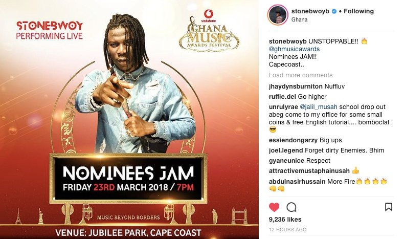 Stonebwoy Says Nothing Can Stop Him From VGMA Jam Performance