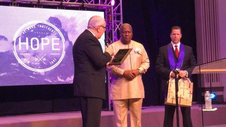 Former President John Dramani Mahama Receives Award For 'Outstanding Christian Leadership'
