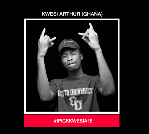 #IPICKKWESIA18 Kwesi Arthur Nominated For 2018 BET Awards Viewers Best New International Act