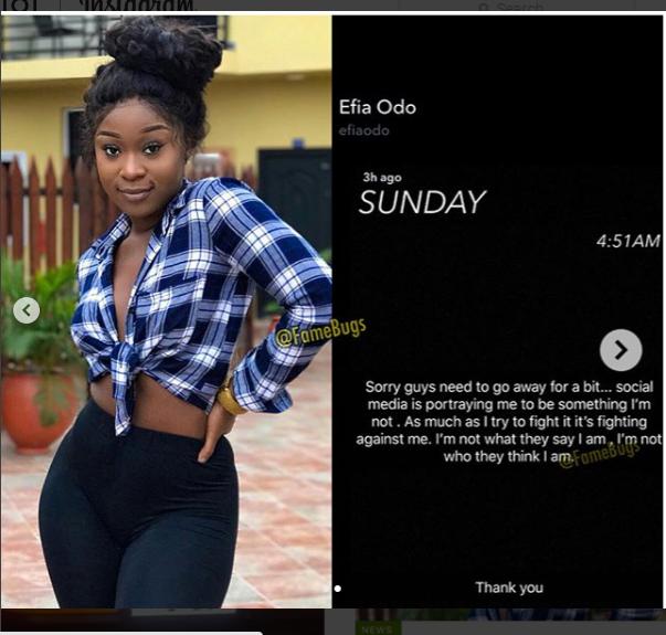 Efia Odo To Give Up Social Media?