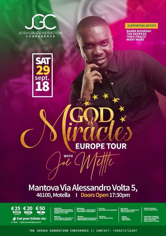 Joe Mettle To Embark On God Of Miracle European Tour