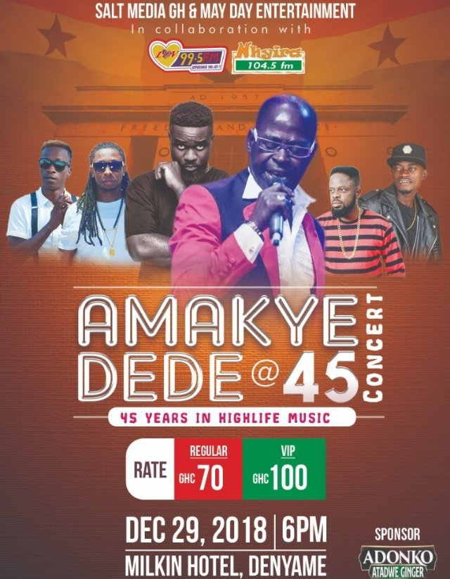 Amakye Dede @ 45: Kumasi Concert To Feature Sarkodie, Ofori Amponsah, Lilwin, Others