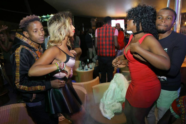 Kamata dame! Chipukeezy and Eric Omondi pictured grinding up on their women during a recent night out