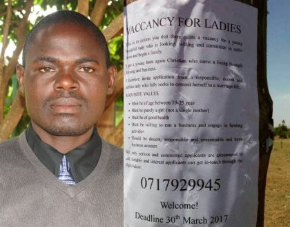 WTF! Kumbe ladies are this desperate! Jackson Onunga who advertised for a wife in a viral poster gets over 800 calls… This is the lady who came up on top (Photos)