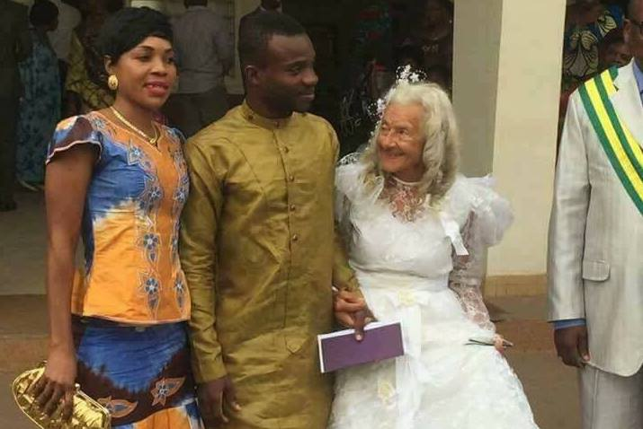 Young African man causes ripples as he exchanges vows with a VERY old white granny
