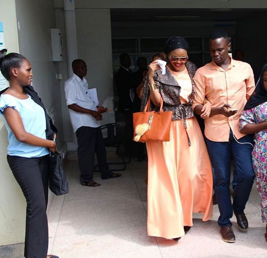 Wema Sepetu leaving the court room with her former Manager, Martin Kadinda