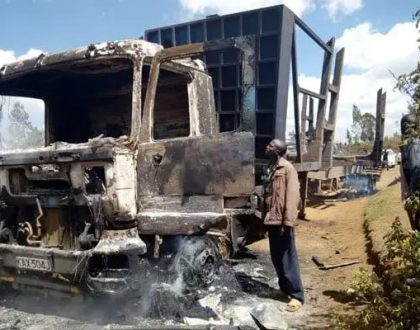 Totally disgusting! Savage Molo resident burn down 14 lorries (Photos)