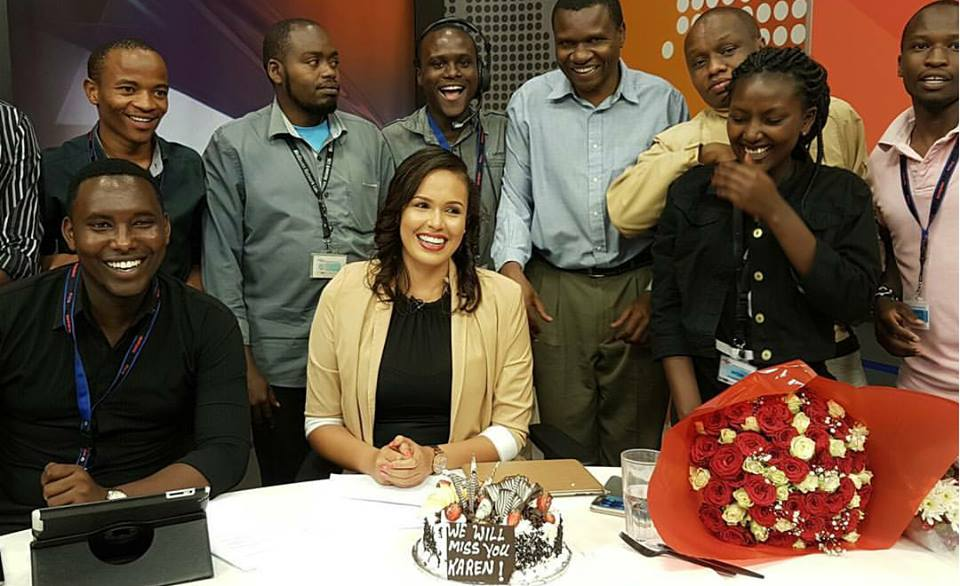 Karen Knaust thrown goodbye party at K24 studio as she quits Uhuru-owned media house in style (Photos)