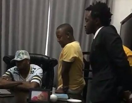 Bahati humbles himself like a child when he meets Diamond Platnumz at the Wasafi office (Photos)