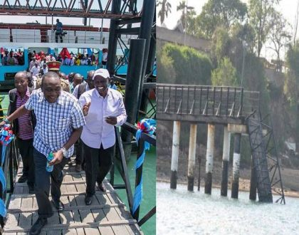 Mtongwe ferry ramp collapses barely two months after President Uhuru commissioned Mtongwe ferry service (Photos)