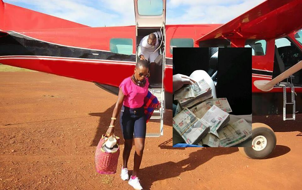 Akothee's manager Nelly Oaks shows off loads of cash before flying off to Masai Mara for holiday with his boss in a private charter flight (Photos)
