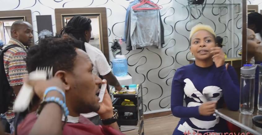 Size 8 and DJ Mo go for a shave at the same barbershop on Kimathi Street (Photos)