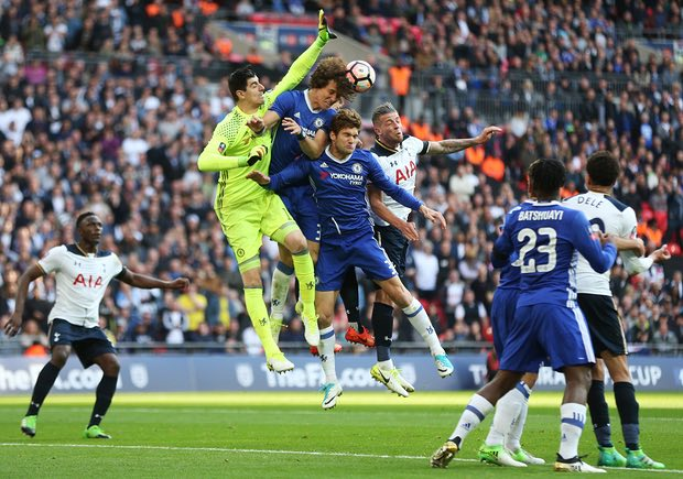 Victor Wanyama in action against Chelsea at Wembley Stadium