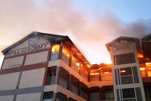 Infill Academy Komarock top floor caught on fire