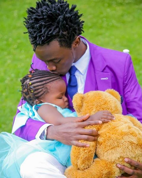 Bahati's 2 year old daughter trades her 'lines' for her daddy's locks! (Photo)