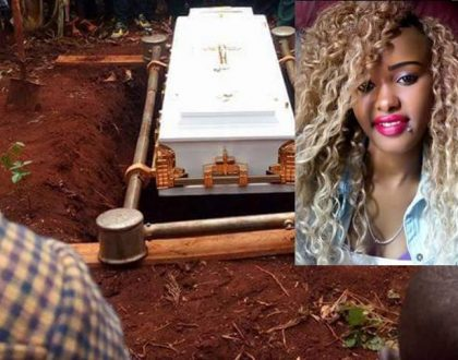 Nairobi's prettiest thug Claire Njoki Kibia buried like a sack of rotten potatoes as police cause drama at her funeral (Photos)