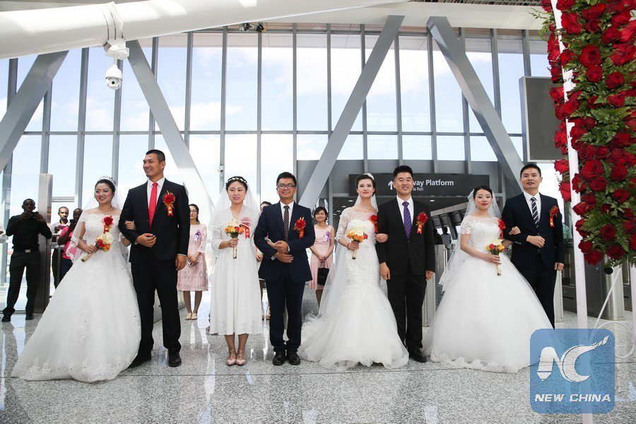 Chinese lovers celebrate completion of Standard Gauge Railway with mass wedding at Nairobi terminus (Photos)