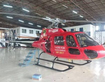 3 Jubilee politicians splash millions to brand helicopters in an ongoing operation at the Wilson Airport (Photos)