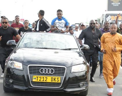 Business brought to a standstill as Diamond storms airport with hundreds of fans to welcome Rayvanny back home (Video)