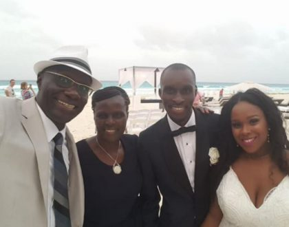Uncle Fred Obachi Machoka's message after his son married Carla McQueen in a beach wedding held in Mexico (Photos)