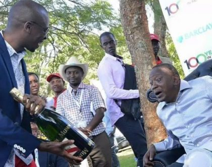 President Uhuru photographed enjoying a full mug of keg (Photos)