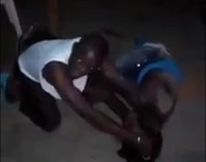 Luhya man beats woman senselessly after she grabbed his manhood in local pub in Nairobi (video)