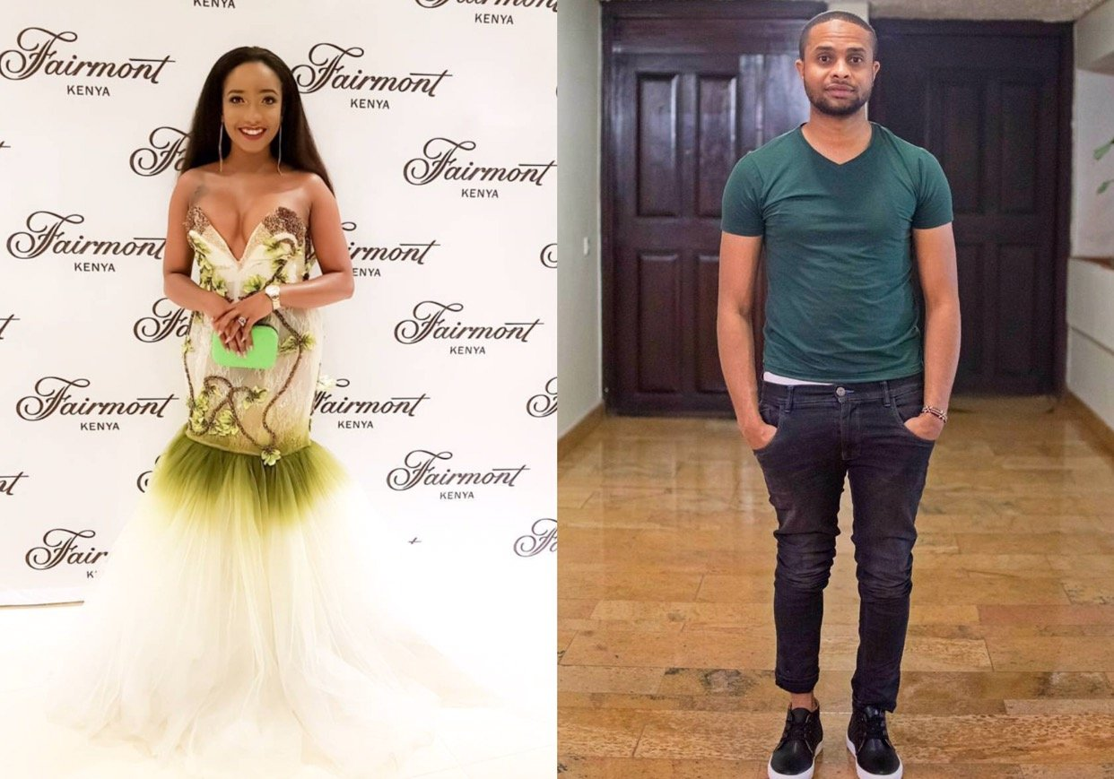 Jamal Gaddafi and Anita Nderu compliment each other at the Launch of Fashion Awards red carpet