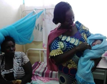 Martha Karua saves the day as stranded woman gives birth in the open just outside hospital (Photos)