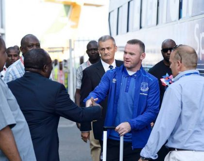 Wayne Rooney and his team touch down in Tanzania ahead of Thursday match with Gor Mahia (Photos)