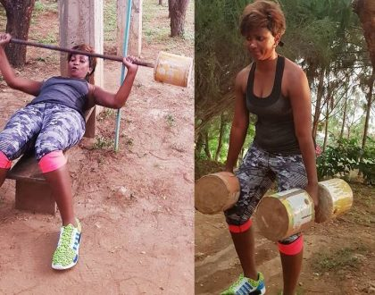 """Kwani eurobond imeisha"" Ababu Namwamba's wife seen working out using improvised weight and the internet couldn't handle it"