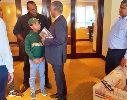 Jeff Koinange elicits mix reactions as he takes his son Jamal to meet 'Africa's great statesman' (Photos)