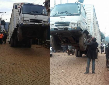 Witchcraft? Drama in Kisii town as lorry stops to take a selfie with its front wheels lifted up in the air (Photos)