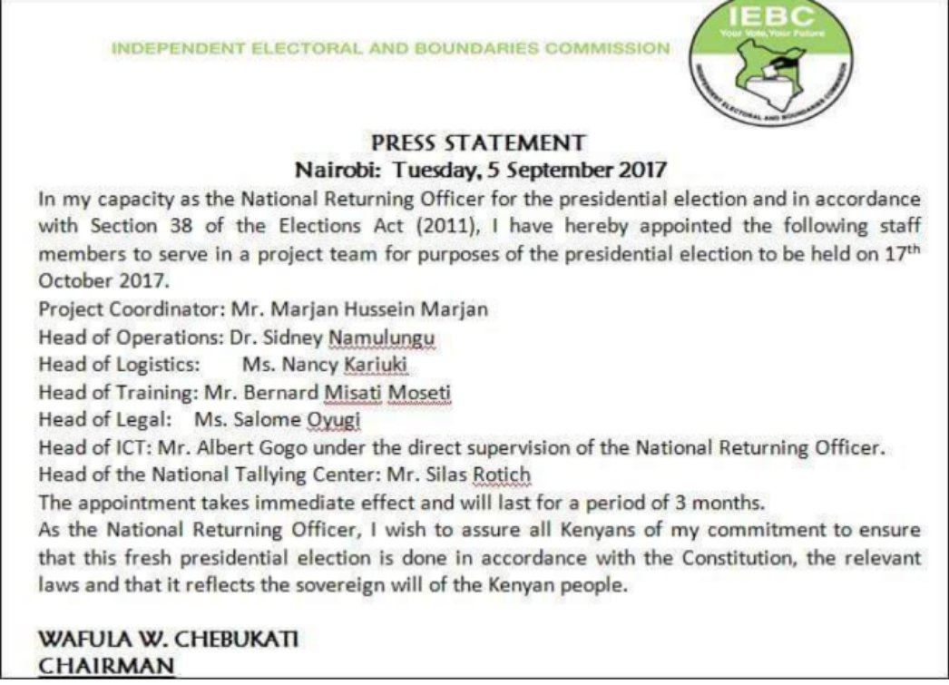 Chebukati drops Chiloba from team that that will oversee ...