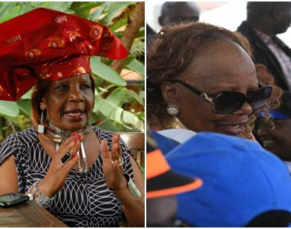 Mudavadi and Kalonzo can't hold back their laughter as Orie Rogo Manduli's headgear falls off exposing the big secret on her forehead
