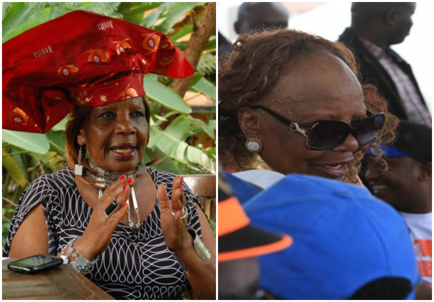 Mudavadi and Kalonzi can't hold back their laughter as Orie Rogo Manduli's headgear falls off exposing the big secret on her forehead