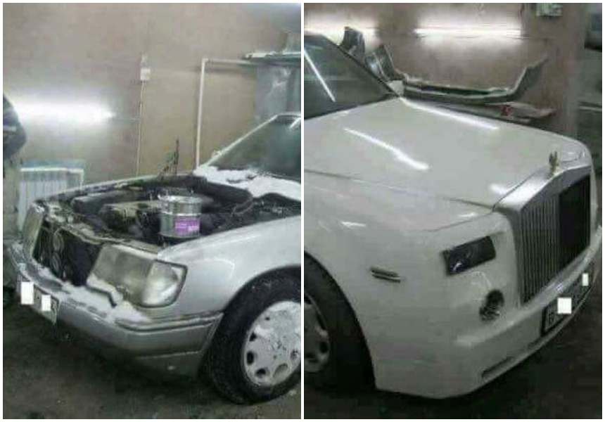 Rolls Royce will surely sue them! Mechanics convert old Mercedes Benz W124 to a Rolls Royce (Photos)
