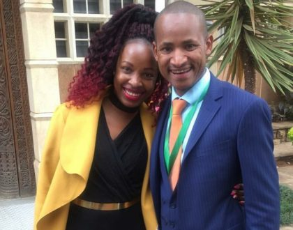 Babu Owino's wife slays in a black jumpsuit as she escorts her husband to be sworn in at parliament (Photos)