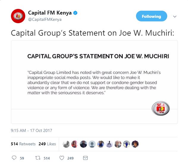 Image result for capital fm press release on joe muchiri
