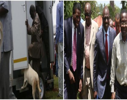 Police sniffer dogs taken to inspect toilets ahead of DP Ruto's visit to the home of Nasa defector in Vihiga (Photos)