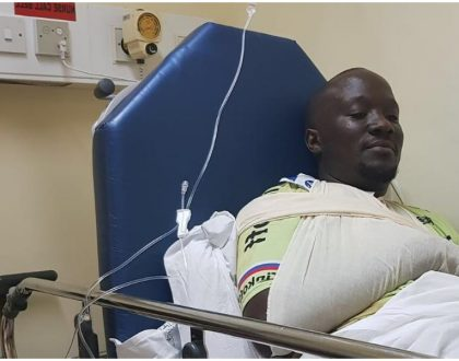 Dennis Onsarigo undergoes 6-hour operation at Aga Khan hospital after surviving accident along Southern bypass (Photos)