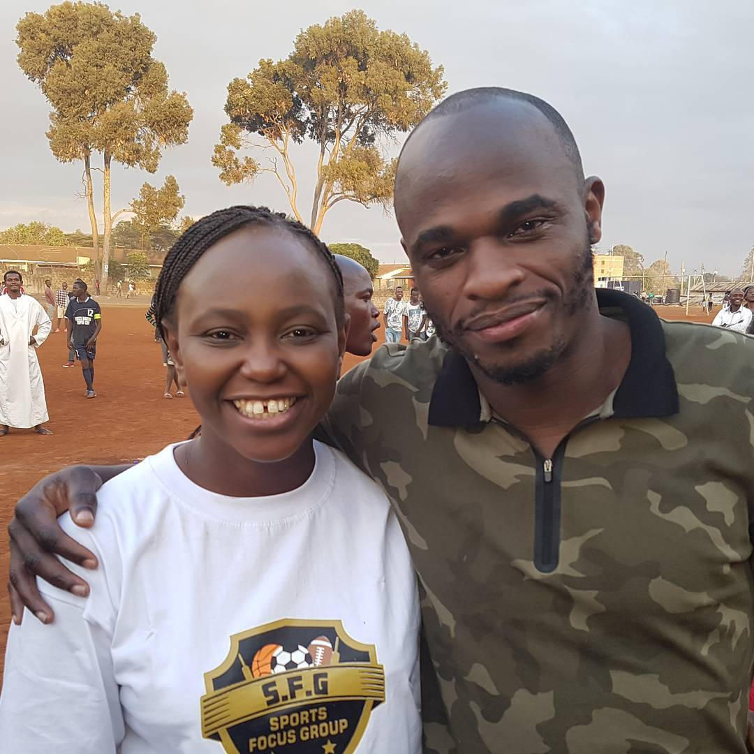Carol Radull with Dennis Oliech