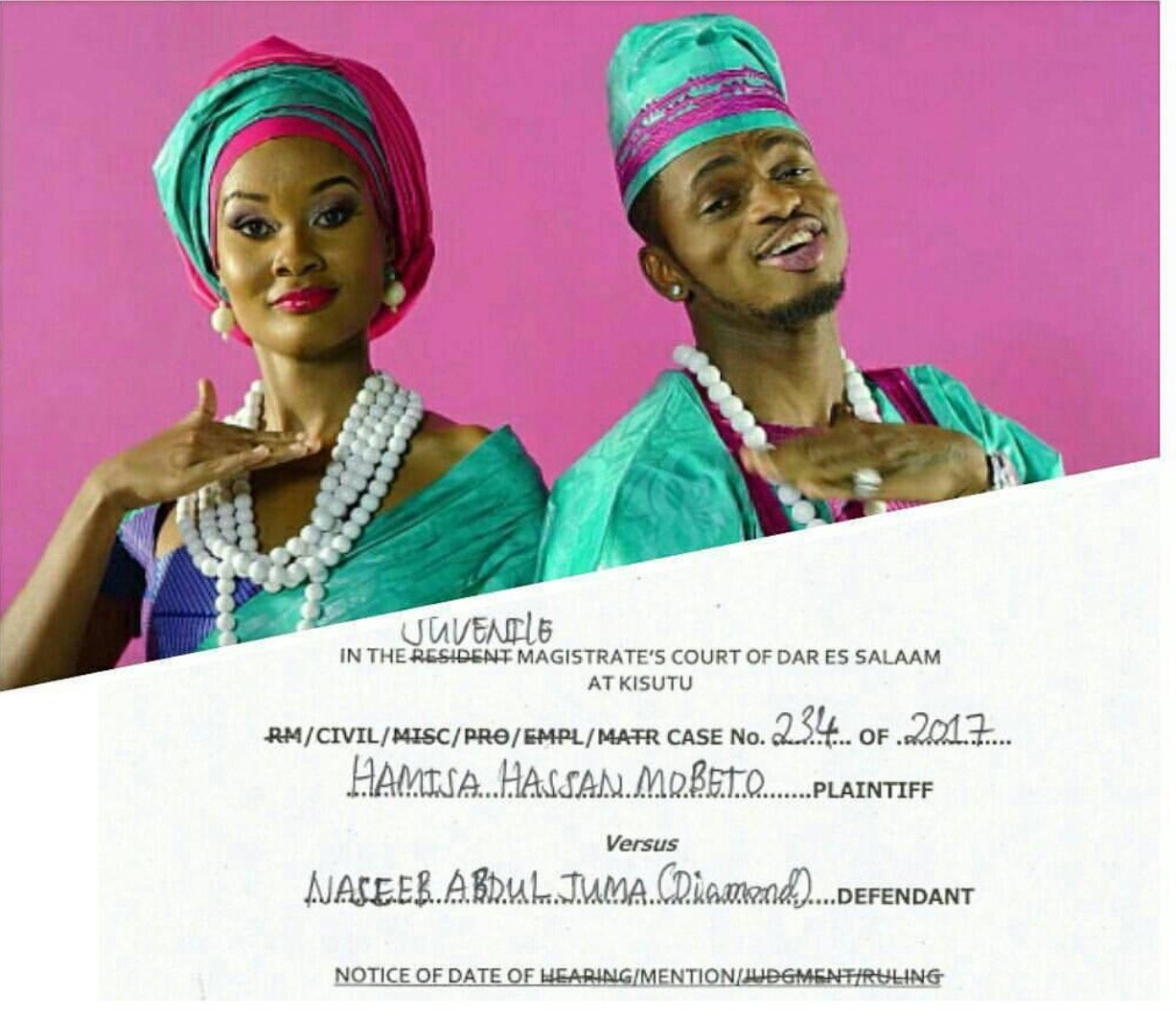 Hamisa files a case against Diamond Platnumz