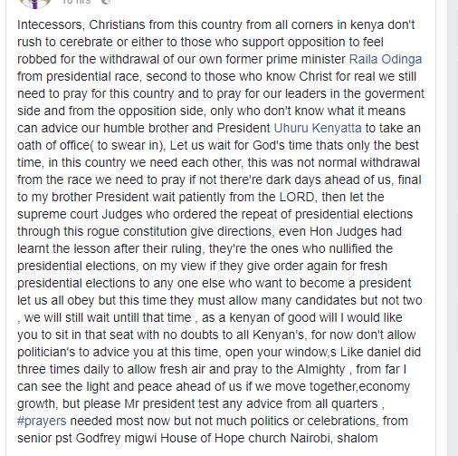 Pastor Migwi's post