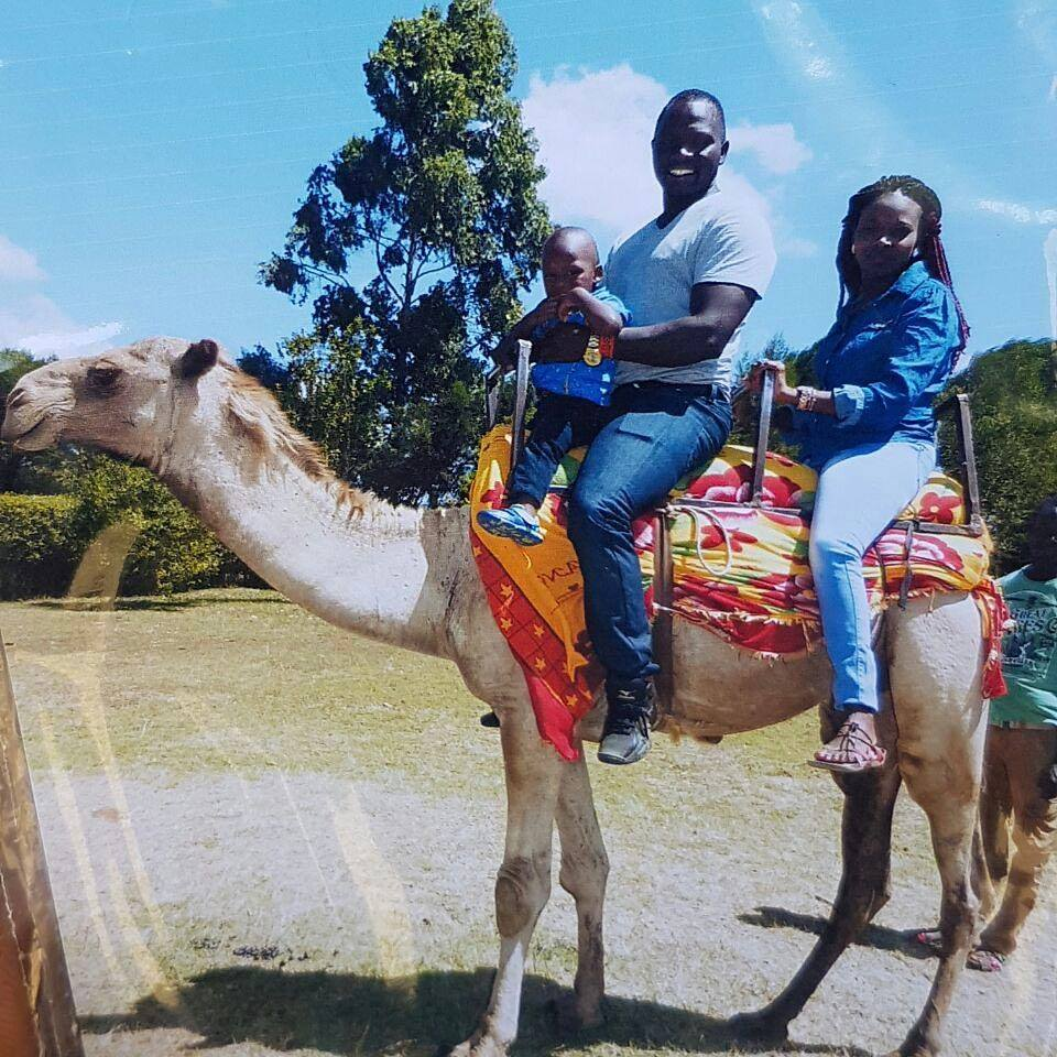 Yego with his son, Yego Junior and wife