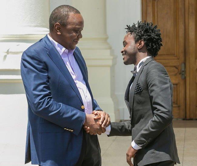 Bahati with Uhuru Kenyatta