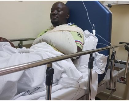 Dennis Onsarigo back on his feet after fatal accident that almost claimed his life (Photos)