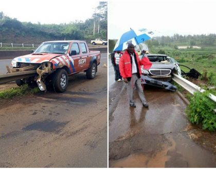 Killer guardrails slice another vehicle few kilometers from governor Gakuru's accident scene (Photos)