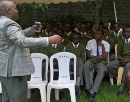 Nyeri Governor Wahome Gakuru with his son and classmates