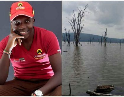 John Mapozi's mother gazes at Lake Nakuru in agony as divers are still unable to retrieve her son's body
